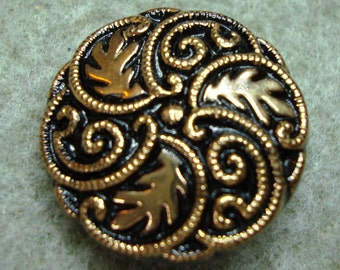 Czech Glass Button 23mm - hand painted - black with gold (B23288)