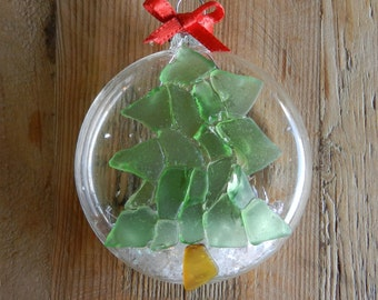 Beach Glass Ornament - Mosaic Christmas Tree - Hawaiian Christmas ornament - Individual