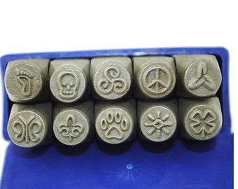 Proops Set x 10 Metal Stamp Punch, Foot, Skull, Peace, Paw, Sun, Butterfly, Flower, Swirl Print. (J1291) Free UK Postage