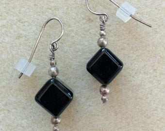 Vintage Black Onyx Cube Drop Earrings