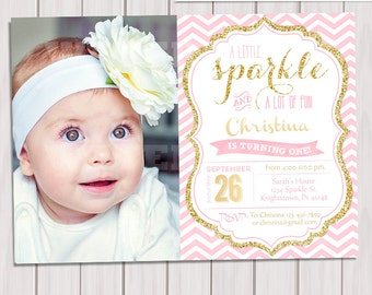 Pink and Gold invitation, Gold Glitter Invitation,1st Birthday Invitation, Photo Girl Birthday Invitation,Printable invite, Kids birthday