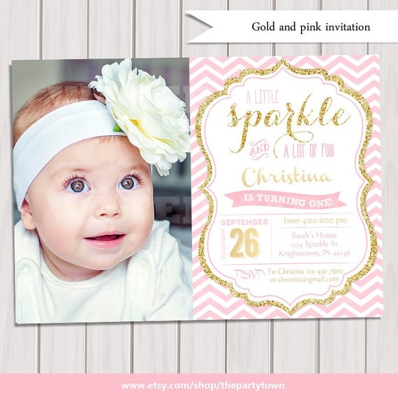 Pink And Gold Invitation Gold Glitter Invitationst Birthday - 1st birthday invitations gold and pink