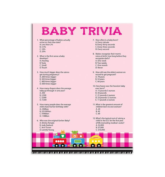 printable baby shower game baby trivia