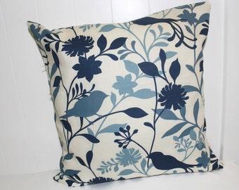 Decorative 16X16 Cream & Blue Floral Bird Decorative Pillow Cover, Throw Pillow