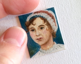 Mini Jane Austen Portrait Painting, Framed