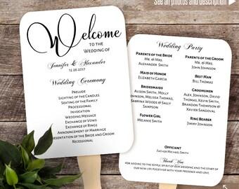 Printable fan program, Wedding fan program, Instant download self editable PDF F115