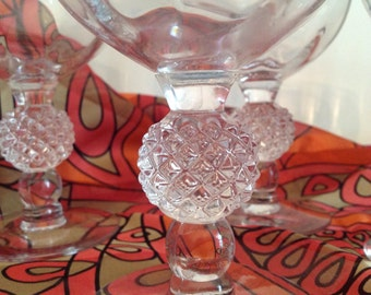 set of 4 vintage clear crystal glasses pineapple cut chunky stems and subtle swirl pattern