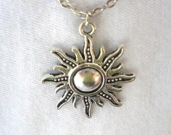 Sun Necklace/  Silver Sun Necklace/ Sun Charm Necklace/ Sun Charm/ Sol charm/ Celestial Charm/Pick Charm/ Sun Signs