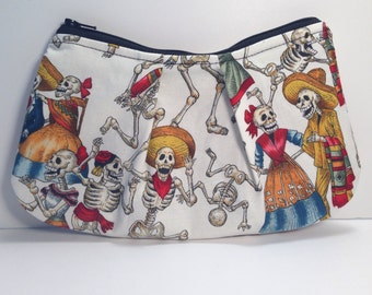 Day Of The Dead Skeletons Zippered Medium Pleated Pouch Bag Gothic