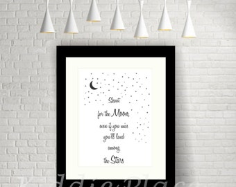 Kids Print-InspirationalQuote-Shoot For The Moon-Nursery-Bedroom-Wall Art