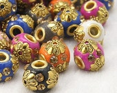 Handmade Indonesia Beads, Round, Mixed Color, 14x13mm, Hole: 3mm   100