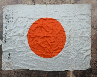 Captured Japanese WWII Rising Sun Battle Imperial Flag -Signed