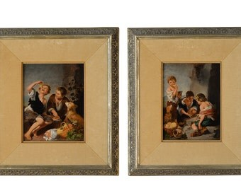 "19th century pair of Oil paintings ""Children at play"""