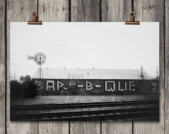 Black & White Railroad BBQ - Old Building - Country Scene - Kyle, TX - Fine Art Photography Print