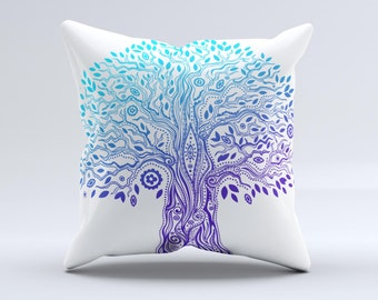 The Gradated Tree of Life - iNK-Fuzed Decorative Throw Pillow
