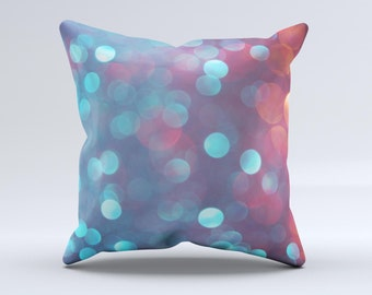 The Unfocused Blue and Red Orbs ink-Fuzed Decorative Throw Pillow
