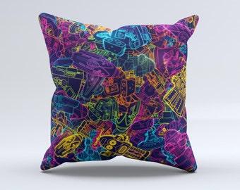 Neon Robots ink-Fuzed Decorative Throw Pillow