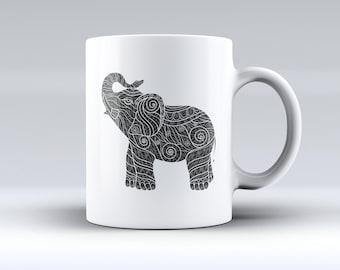 Zendoodle Elephant ink-Fuzed Ceramic Coffee Mug or Tea Cup