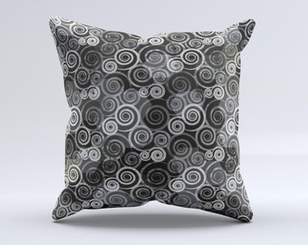 The Back & White Abstract Swirl Pattern ink-Fuzed Decorative Throw Pillow