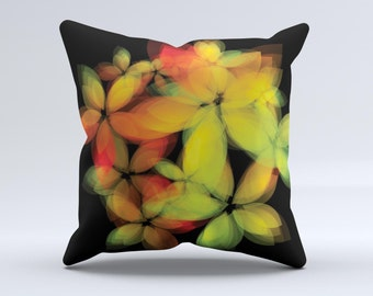 The Neon Blurry Translucent Flowers Pillow ink-Fuzed Decorative Throw Pillow