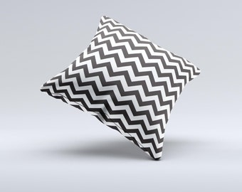 The Black and White Zigzag Chevron Pattern ink-Fuzed Decorative Throw Pillow