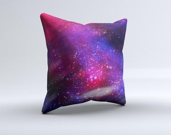 Vivid Pink Galaxy Lights ink-Fuzed Decorative Throw Pillow