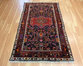 Black Rug Wool Oriental Persian Rug 4' 3 x 6' 11 Hamedan