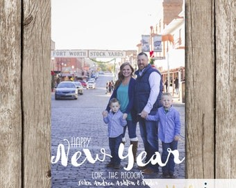 New Year's Card - Photo New Year's Card - Happy New Year Photo Card - Typography New Year Card