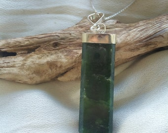 Nephrite Pendant on Sterling Silver Bail