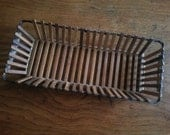 Vintage Bamboo Wooden Bread Basket Slotted Unique Rectangle Shaped French Bread Server