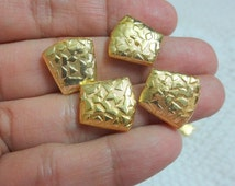 Textured Gold Plated Copper Trapezoid Shaped Metal beads /Spacer Beads  - 12 count