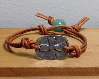 Leather Bracelet,  Aventurine bracelet, Cross bracelet, Women's leather bracelet, Boho bracelet, Boho jewelry, Womens jewelry, Item PL255