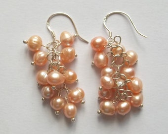 Handmade earrings in Silver 925 with cascading pearls peach