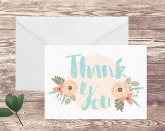 Personalized Floral Stationery Folded Notecards, Thank You Notecards, Girl's Personal Stationery Set, Notecards with Name, Gift for Her