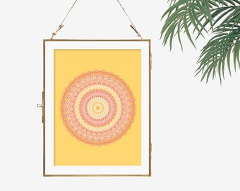 Huge Wall Art Large Poster Orange Mandala Modern Boho 12x12 Dining Room Artwork Coral