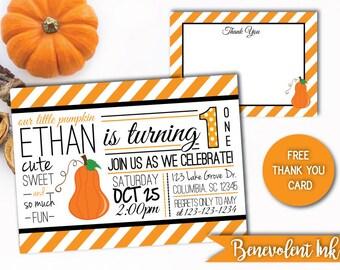 Fall Birthday Invitation - Fall Birthday Party Invite - Fall Theme Birthday Party - Pumpkin Birthday Invitation