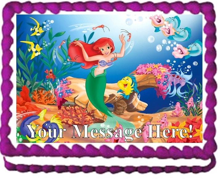 Little Mermaid ARIEL Mermaid Edible Cake Topper Image Frosting
