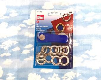 PRYM 10 eyelets with washers 14mm