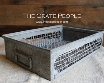 FREE SHIPPING -- Heavy Industrial Wire Mesh Basket - Industrial Metal European Basket
