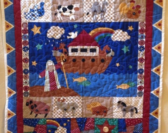 Quilt, Quilted Wall Hanging, Noah's ark wall hanging