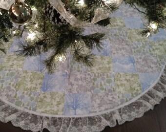 "60"" Blue/Green/Silver Christmas Tree Skirt"