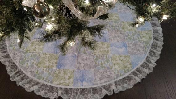 60 Blue/Green/Silver Christmas Tree Skirt