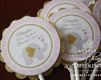 Girl Elephant Cupcake Toppers / Pink and Gold Cupcake Toppers / Pink and Gold Baby Shower Cupcake Toppers / Pink and Gold Elephant Cupcake