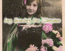 vintage postcard download - France, Christmas, scrapbooking, printing, collage, digital image, flower, girl, snow ,DIY, winter, new year