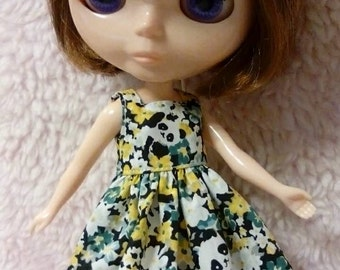 Blythe Doll Outfit panda Print Dress yellow