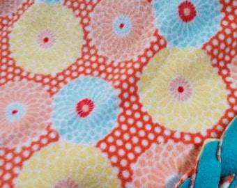 Coral & Teal Flower Fleece Blanket