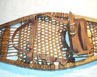 Snowshoe binding, Snowshoe straps, hand made of leather