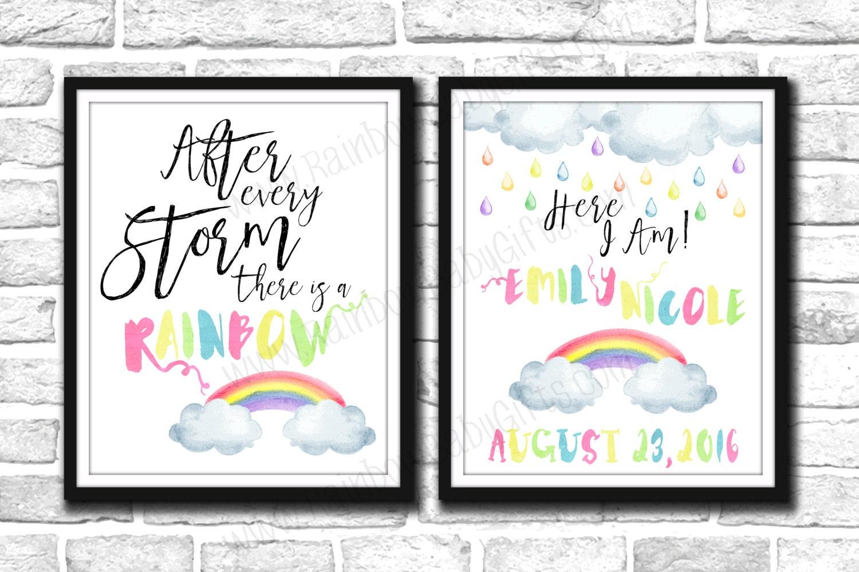 Rainbow Baby Birth Announcement Signs PRINTABLE Pastel – Birth Announcement Signs
