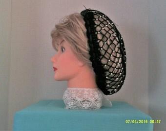 "Civil war, Victorian, Hand made crochet  ""Jeweled"" snood. 100% Cotton"