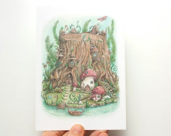 Postcard Secret Gnome World - eco paper